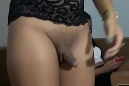 Amateur ladyboy sucks and fucks on a homemade sex tape