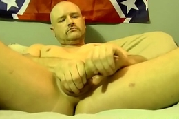 Bald dude Tony masturbates plus gets his fat cock sucked well