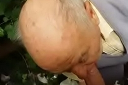 80 duration old grandpa sucks in forest