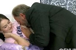 Pretty juvenile cutie fucked by old guy