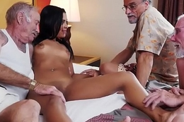 Teeny-weeny ebony babe screwed in foursome