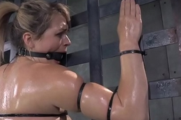 Bound roughsex sub tied up while riding trifle