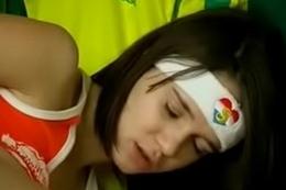Soccer fan teen fucks herself in lockerroom