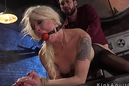 Busty light-complexioned anal banged with reference to bondage