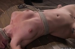 Blonde submits to flogging and anal hooking