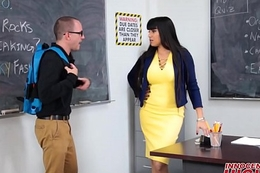 Sexy Teacher Fucks Nerdy Male Student