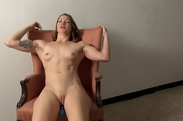 Fit Tattooed Redhead Bonks Herself with Her Toy