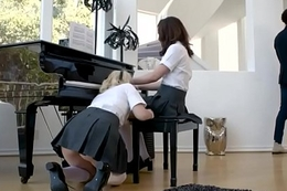 Two cute teens screwed hard by a black piano teacher