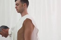 Clean-cut Mormon boy barebacked in church