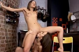 Two cuties have lesbian fun