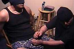 Sexy Blindfolded Hunk Serviced by Older Tramp