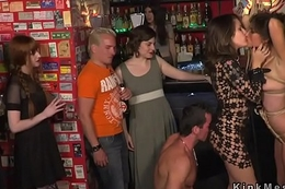 Two slaves orgy banged upon resuscitate bar