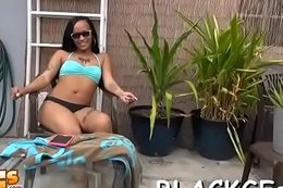 Black girl bounces on hard rod