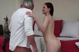 Kinky babe sucks age-old man