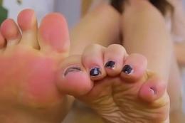 Curvy footfetish ladyboy teasing nigh closeup