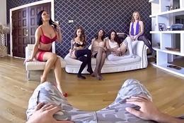 VRBangers.com Five hot girls Warship your dick