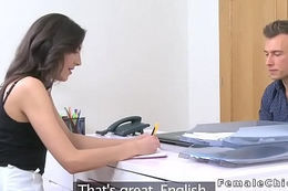 Skinny female agent deep mouths in office