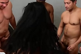 Latina receiver beauty with big tits group-fucked by guys