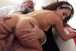 Teen babe pounded from burdening someone by grandpa