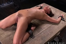 Petite slave got bawdy cleft whipped