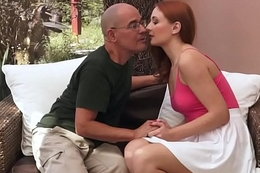 Teen redhead banged pensioners dick