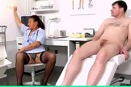 Perverted grandma Linda is dirty sex cream clinic doctor