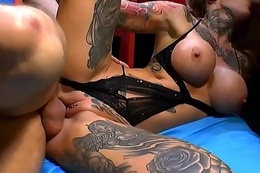 Tattooed german cum faced