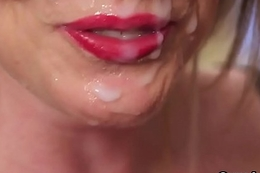 Kinky stunner gets cum saddle with on her facet swallowing on all sides of the jism