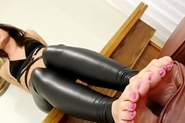 Shoddy fond debutante plays with her feet