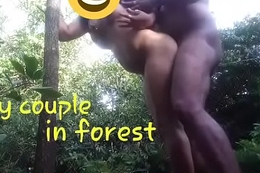 Crazy couple wide forest