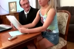 Tricky Old Teacher - Horny schoolgirl fucks say no to teacher