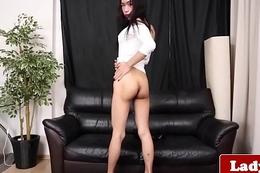 Busty ladyboy tugging solo until she cums