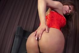 Bigtitted ladyboy jerking dick after teasing