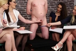 European cfnm babes wanking with an increment of drawing cock