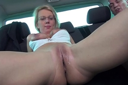 Takevan Pussy cum cover for glassed blonde bus at lunch breat